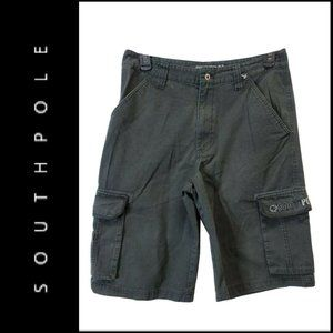 Southpole Mens Longer Length Black Cargo Short 32